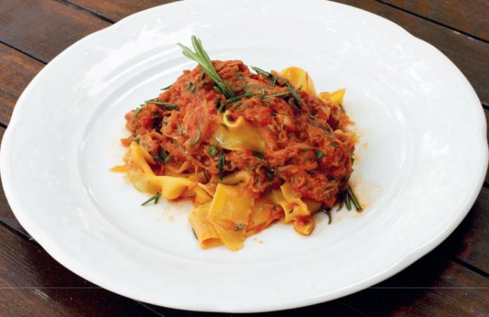 Recipes, Andy Needham, chefs, L'Amorosa, Fresh egg pappardelle with Welsh saltmarsh lamb shoulder ragu, Lamb Ragu